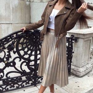Zara Rustic Gold Metallic Pleated Skirt